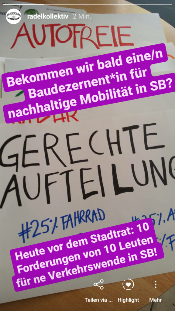 Demonstration Verkehrswende Stadtrat Saarbrücken